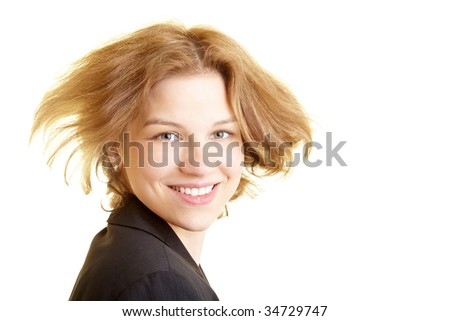 Happy business woman letting her hair fly - stock photo