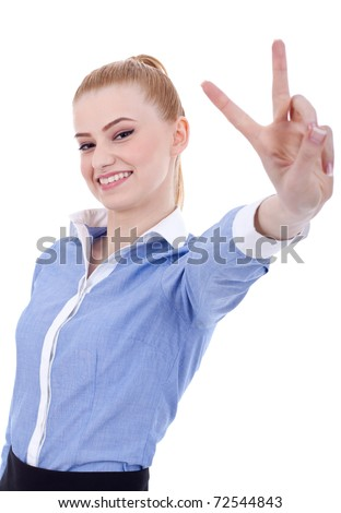Happy business woman making victory gesture, isolated on white - stock photo