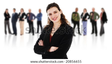 happy business woman on an isolated white background with business team - stock photo