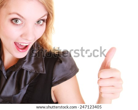 Happy business woman or student girl giving thumb up showing ok hand sign gesture isolated on white. Success in work. - stock photo