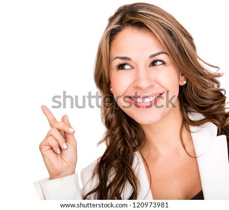 Happy business woman pointing an idea - isolated over white - stock photo