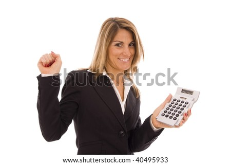 Happy business woman showing a calculator - stock photo