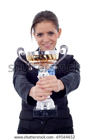 Happy business woman showing her big trophy over white - stock photo