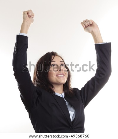 Happy Business Woman showing her Victory