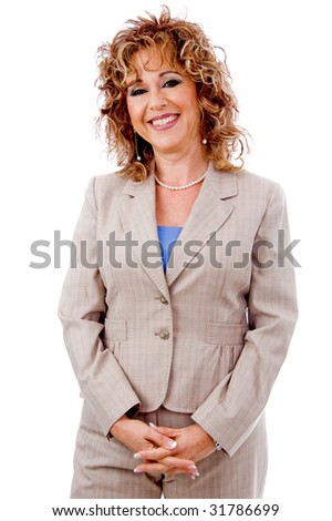 Happy business woman smiling - stock photo