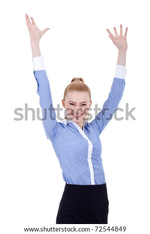 Happy business woman whit her hands in the air, isolated - stock photo