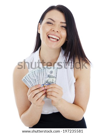 happy business woman with cash in hand. Isolated on white background