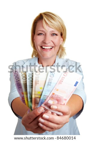 Happy business woman with fan of Euro money bills - stock photo