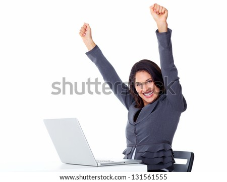 Happy business woman with laptop computer isolated on white background