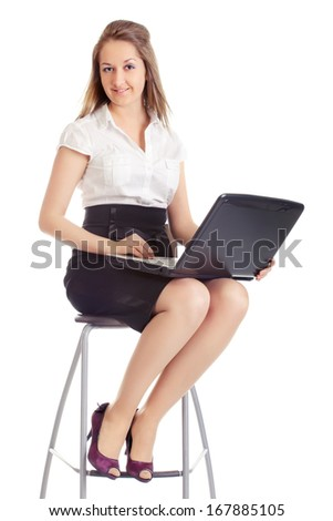 happy business woman with laptop, isolated on white - stock photo