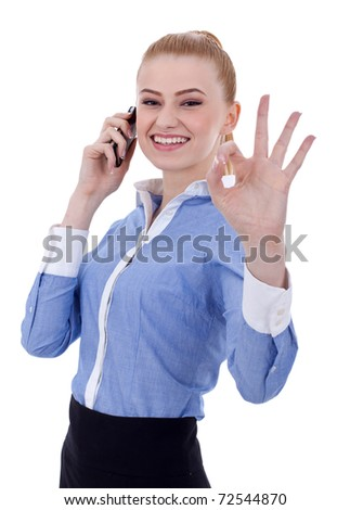 Happy business woman with phone and ok gesture, isolated - stock photo