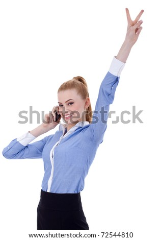 Happy business woman with phone and victory gesture, isolated - stock photo
