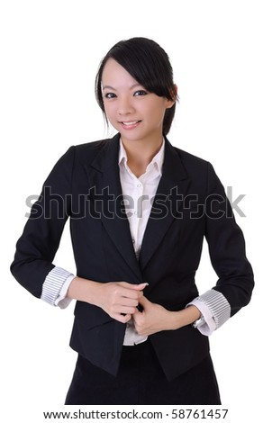 Happy business woman with smiling expression on formal suit, closeup portrait on white background. - stock photo