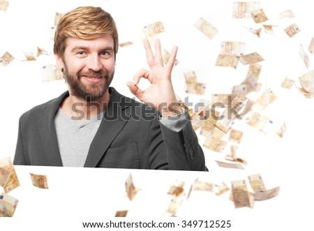 happy businessman allright sign - stock photo