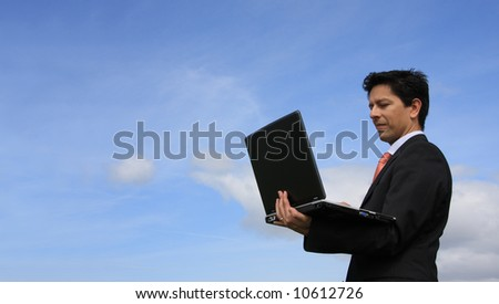 Happy businessman analyzing a financial report on his laptop - stock photo