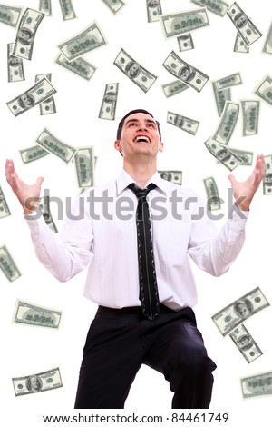 Happy businessman and flying dollar banknotes against white background - stock photo