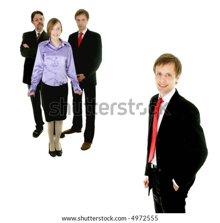 happy businessman and his perfect team -  isolated on white