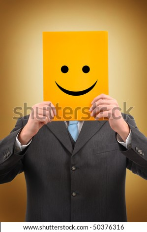 Happy Businessman and Politician with Positive Attitude Holding Yellow Paper with Happy Smiley Emoticon Face - stock photo