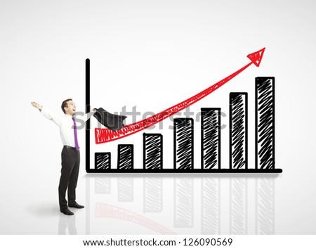 happy businessman and up arrow - stock photo