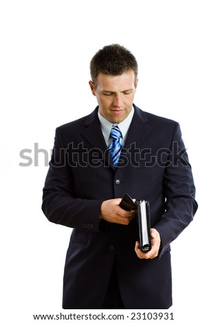 Happy businessman  calling on cellphone, smiling, isolated on white. - stock photo