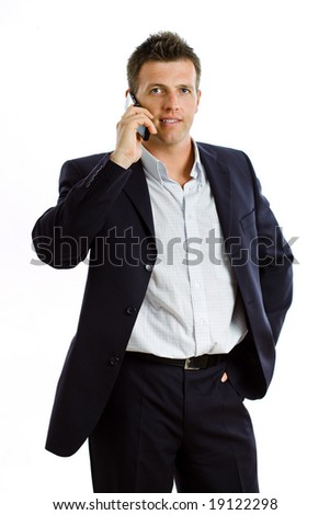 Happy businessman calling on mobile phone, smiling, isolated on white
