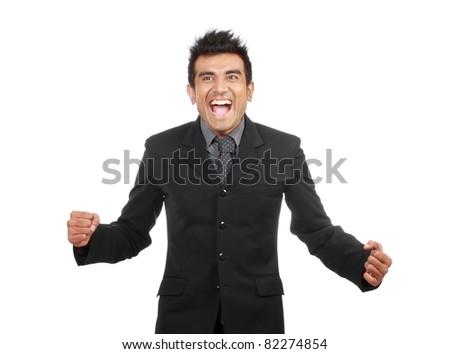 Happy businessman celebrating success. - stock photo