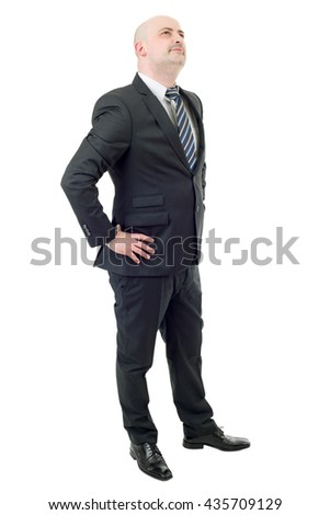Happy businessman full length, thinking, isolated on white