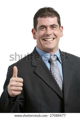 Happy businessman giving thumbs up on white - stock photo