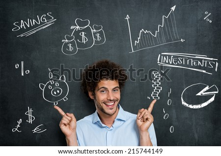 Happy Businessman Has a Lot of Different Opportunities For His Money Investments - stock photo