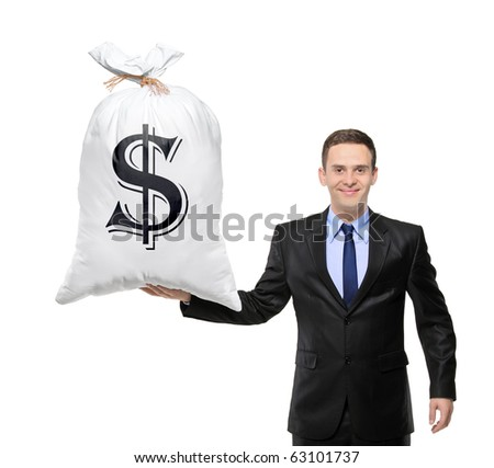 Happy businessman holding a bag with US dollar sign isolated on white background