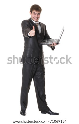 happy businessman holding a laptop and shows okay sign isolated on white - stock photo