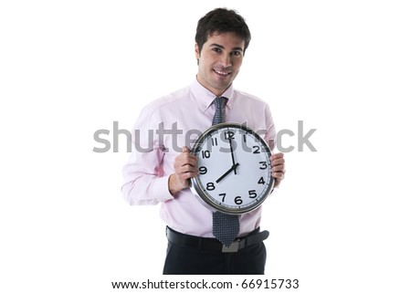 Happy Businessman Holding Clock, white background - stock photo