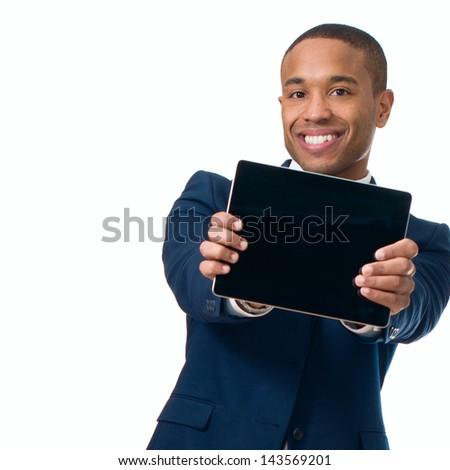 Happy Businessman Holding Digital Tablet On White Background - stock photo