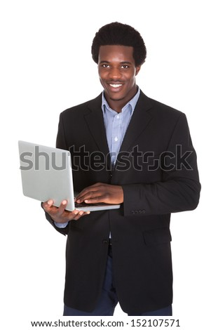 Happy Businessman Holding Laptop Isolated On White Background