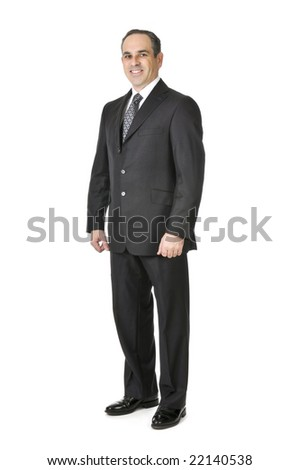 Happy businessman in a suit isolated on white background - stock photo