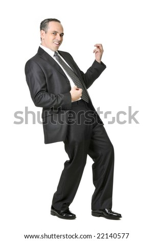 Happy businessman in a suit playing an air guitar isolated on white background - stock photo