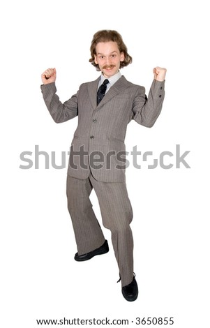 Happy businessman in gray jacket