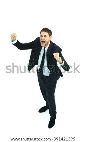 Happy businessman isolated on white with arms outstretched - stock photo