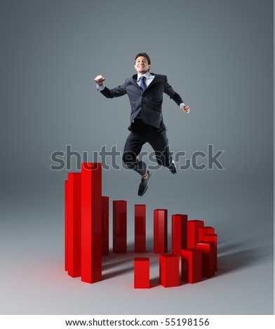 happy businessman jump over circle 3d graph stat
