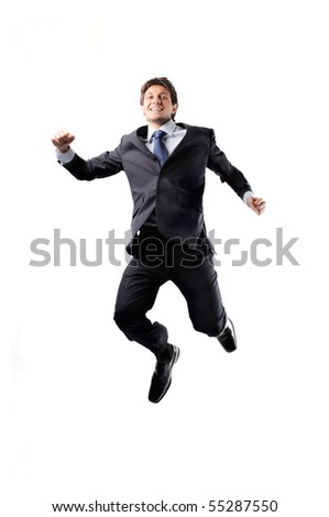 Happy businessman jumping - stock photo