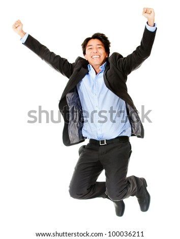 Happy businessman jumping - isolated over a white background