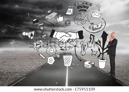 Happy businessman looking away against graphic over stormy landscape background - stock photo