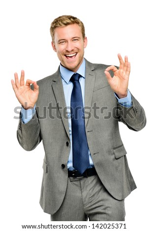 Happy businessman man okay sign - portrait on white background - stock photo