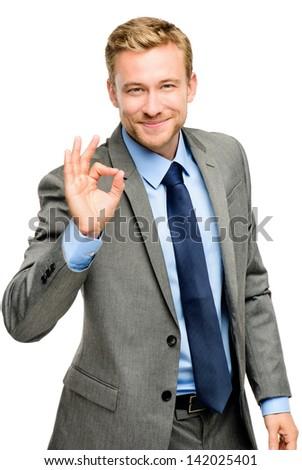 Happy businessman man okay sign - portrait on white background - stock photo