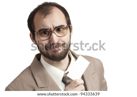 Happy businessman offers business card