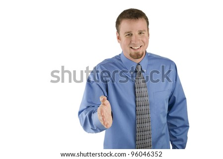 Happy Businessman offers handshake - stock photo