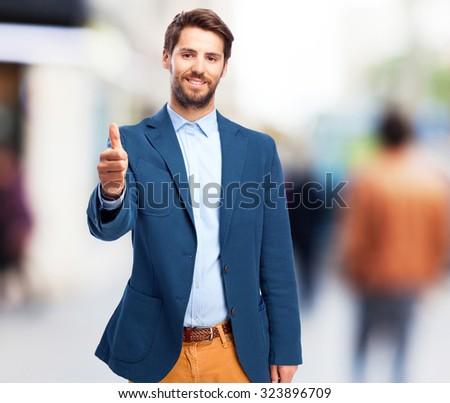 happy businessman okay gesture - stock photo