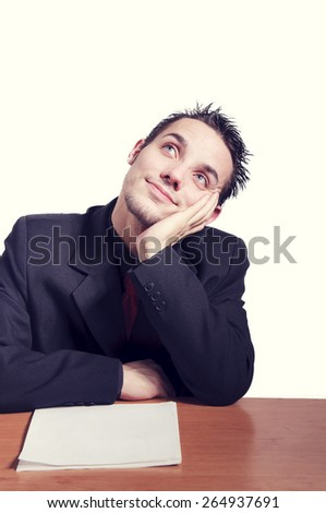 happy businessman on a white background - stock photo