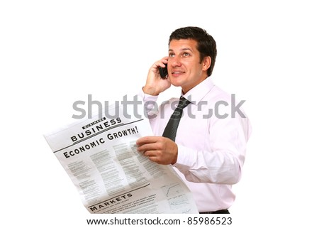Happy businessman on phone with newspaper isolated - stock photo