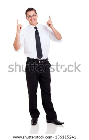 happy businessman pointing up isolated on white background - stock photo